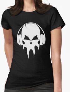 Skull with headphones - version 2 - white Womens Fitted T-Shirt