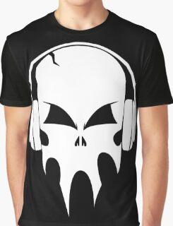 Skull with headphones - version 2 - white Graphic T-Shirt