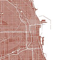Chicago Map - Light Brown by CartoCreative