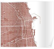 Chicago Map - Light Brown Poster