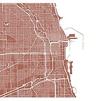 Chicago Map - Light Brown Photographic Print