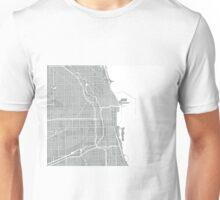 Chicago Map - Light Grey Unisex T-Shirt