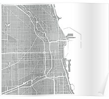 Chicago Map - Light Grey Poster