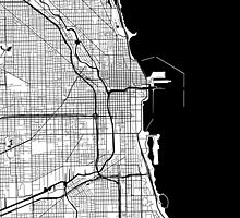 Chicago Map - Black Inverted by CartoCreative