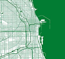 Chicago Map - Green Inverted by CartoCreative