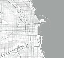 Chicago Map - Light Grey Inverted by CartoCreative