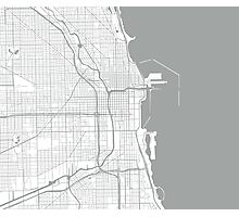 Chicago Map - Light Grey Inverted Photographic Print