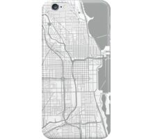 Chicago Map - Light Grey Inverted iPhone Case/Skin
