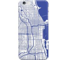 Chicago Map - Inverted Medium Blue iPhone Case/Skin