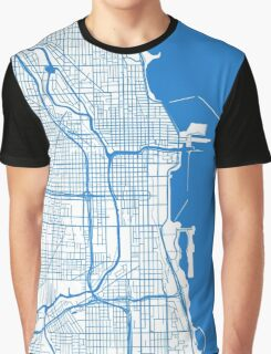 Chicago Map - Inverted Light Blue Graphic T-Shirt
