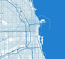 Chicago Map - Inverted Light Blue by CartoCreative