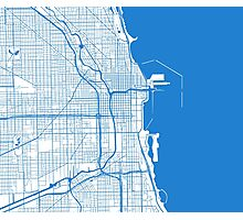 Chicago Map - Inverted Light Blue Photographic Print