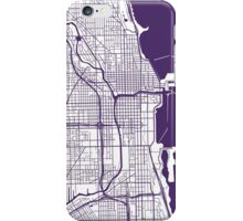 Chicago Map - Dark Purple Inverted iPhone Case/Skin