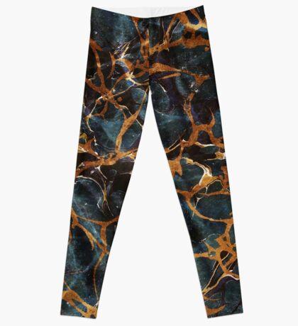 Ocean & Gold Marble #redbubble #style #fashion #tech Leggings