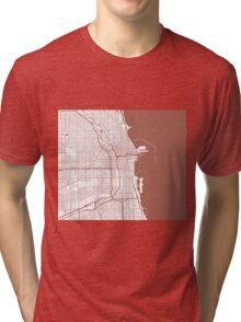 Chicago Map - Light Brown Inverted Tri-blend T-Shirt