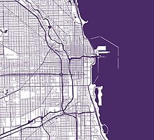 Chicago Map - Dark Purple Inverted by CartoCreative