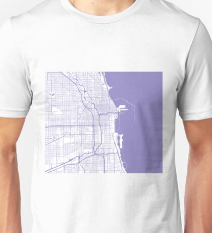 Chicago Map - Light Purple Inverted Unisex T-Shirt
