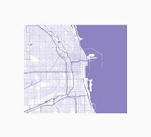 Chicago Map - Light Purple Inverted Unisex T-Shirt