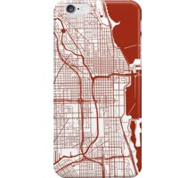Chicago Map - Dark Red Inverted iPhone Case/Skin