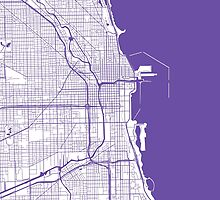 Chicago Map - Purple Inverted by CartoCreative