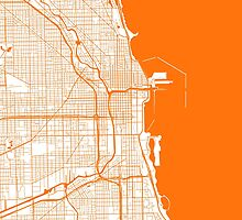 Chicago Map - Orange Inverted by CartoCreative