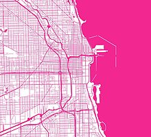 Chicago Map - Hot Pink Inverted by CartoCreative