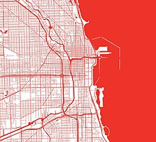 Chicago Map - Red Inverted by CartoCreative