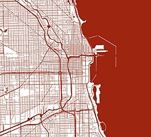 Chicago Map - Dark Red Inverted by CartoCreative