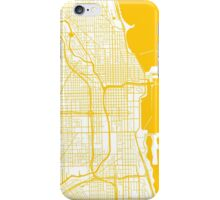 Chicago Map - Yellow Inverted iPhone Case/Skin