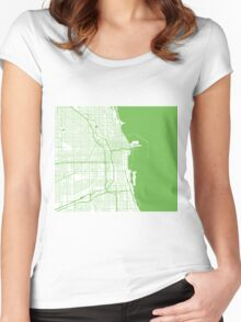 Chicago Map - Light Green Inverted Women's Fitted Scoop T-Shirt