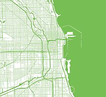 Chicago Map - Light Green Inverted by CartoCreative