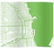 Chicago Map - Light Green Inverted Poster