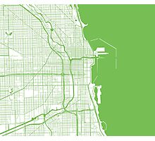 Chicago Map - Light Green Inverted Photographic Print