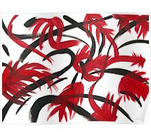 Red Black Floral Abstract  Poster