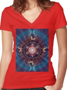 Metatron's Cube - Merkabah - Peace and Balance Women's Fitted V-Neck T-Shirt