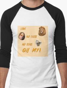 Lions, and Tigers, and Bears, Oh My (Dorothy, lion, scarecrow, tinman, wizard of Oz) Men's Baseball ¾ T-Shirt