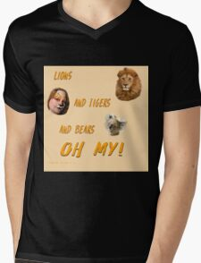 Lions, and Tigers, and Bears, Oh My (Dorothy, lion, scarecrow, tinman, wizard of Oz) Mens V-Neck T-Shirt