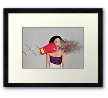 Mechanical boxing devices punches a young woman in the face  Framed Print