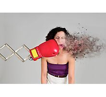 Mechanical boxing devices punches a young woman in the face  Photographic Print