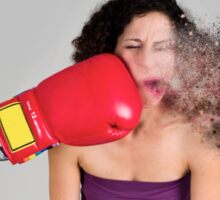 Mechanical boxing devices punches a young woman in the face  Sticker