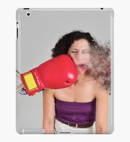 Mechanical boxing devices punches a young woman in the face  iPad Case/Skin