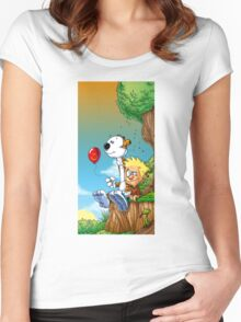 calvin ball hobbes Women's Fitted Scoop T-Shirt