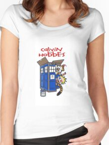 Calvin And Hobbes police box Women's Fitted Scoop T-Shirt