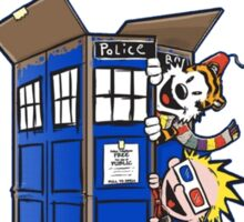 Calvin And Hobbes police box Sticker