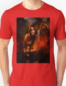 Grim reaper female DEATH carrying scythe wrapped in hell's flames  Unisex T-Shirt
