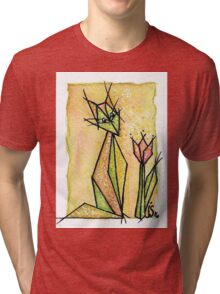 cat and tulip Tri-blend T-Shirt