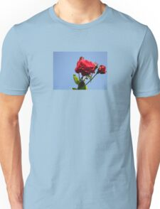 Red Roses with Blue Sky Background Unisex T-Shirt