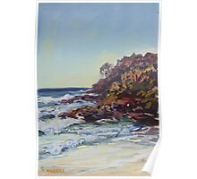 Southern end of Rainbow beach at dusk Poster