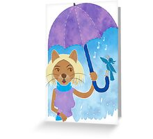 Cool cats and noisy neighbours on a rainy day Greeting Card