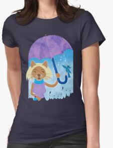 Cool cats and noisy neighbours on a rainy day Womens Fitted T-Shirt
